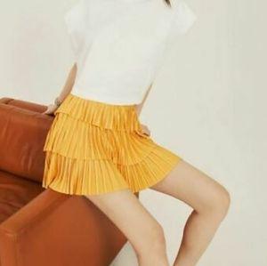 Pleated ruffle Yellow high waisted Mini skirt